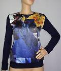 """""""SALE"""" Just Cavalli WOMENS shirt blouse top dark blue/multi color sz XS;S;M;L"""