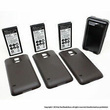 3 x 6500mAh Extended Battery for Samsung Galaxy S5 SV I9600 Black Cover Dock