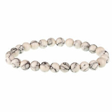 White & Black Marbled Lava Stone Rock 8mm Bead Bracelet for Men by Urban Male