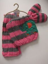 New Baby Girls Grey & Pink NEXT Hat Scarf & Mittens Age 3 - 9 Months