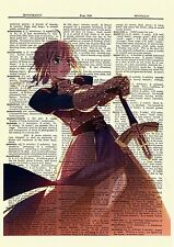 Saber Fate Stay Night Anime Dictionary Art Print Poster Picture Book Manga Japan