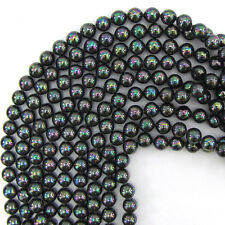 "6mm rainbow peacock shell pearl round beads 16"" strand"