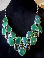 Large Bib Necklace Silver Plate Green Onyx Aquamarine Emerald Qtz 20 gems 21.5""