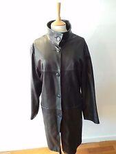 Lakeland Leather Funnel Neck Black Coat Size 18