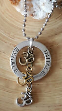 "Good Karma Inhale Exhale Om Silver Gold Bronze Aum Pendant Necklace 18"" Ohm"