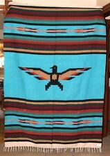 Mexican Blanket Throw Thunderbird Turquoise Blue Center BIG 5'x7' size