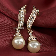 18k rose gold GF made with swarovski crystal wedding pearl stud earrings