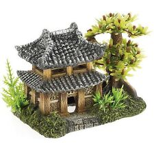 Oriental House Pagoda & Plants Aquarium Ornament Fish Tank Decoration