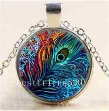 Peacock Feather Photo Cabochon Glass Tibet Silver Chain Pendant Necklace