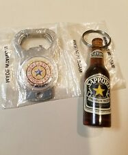 UNIQUE PAIR OF KEYCHAIN BOTTLE OPENERS NEWCASTLE BROWN ALE N.I.P & SAPPORO USED