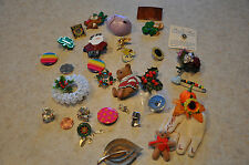 LOT 30 VINTAGE FIGURAL BROOCH PIN CHRISTMAS,FLOWER,BEAR,ANGEL,CLOVER,OWL,BUG,EGG