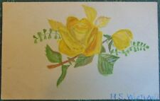 YELLOW ROSES-SIGN HS WESTWOOD-VTG HANDMADE HAND PAINTED UNDIVIDED BACK POSTCARD