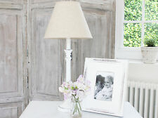 ANTIQUE VINTAGE  WHITE WOODEN LAMP BASE & LINEN SHADE TABLE/BEDSIDE SHABBY CHIC