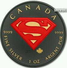 2016 1 Oz .9999 Silver Superman Coin Ruthenium Plated Gold Gilded and Colorized