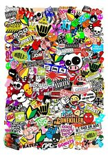 A5 Micro Size JDM Style Multi Colour Vinyl Sticker Bomb Sheet R/C Drift Car etc