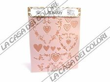 TOMMY ART - STENCIL  34x38cm - STE014  - CUORI COUNTRY - COUNTRY HEARTS