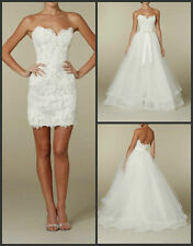 Dismountable Train short lace long Tulle Wedding Dress Bridal Gown Custom Size
