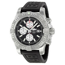 Breitling Super Avenger II Automatic Chronograph Black Rubber Strap Mens Watch