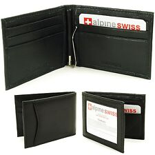 Mens Bifold Money Clip Spring Loaded Genuine Leather ID Card Front Pocket Wallet