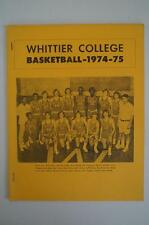 Vintage Basketball Media Press Guide Whittier College 1974 1975