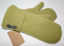 Valley View Farms Recycled 100% Felted Wool Sweater Mittens Fleece Lined Green