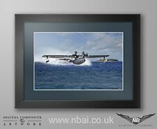 Framed PBY5-A Catalina WWII digital art print