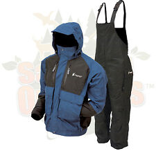 XL Frogg Toggs Blue/Black Firebelly Jacket & Black Toadskin Bibs Rain Suit