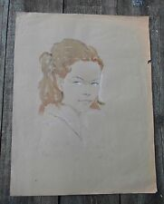 GRAND PORTRAIT FEMININ-AQUARELLE FUSAIN-SIGNATURE LEUSIN PARLO ilis? PARIS 1965