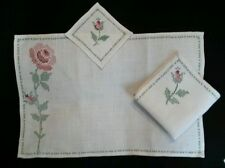 VINTAGE Embroidered SHABBY CHIC!  PINK ROSE Placemats Napkins 12 PIECE SET!!!