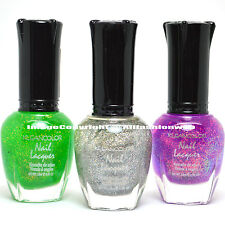 3 Kleancolor Nail Polish Chunky Holo Clover , Silver , Bluebell Lacquer 3SET42