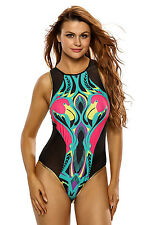 Ladies Black Flamingo Print Swimwear Swimsuit Monokini Beachwear Size UK 8-10