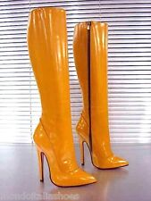 MORI ITALY EXTREME HEELS KNEE HIGH BOOTS STIEFEL STIVALI LEATHER BEIGE YELLOW 38