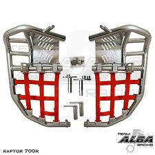 Yamaha Raptor 700  Nerf Bars  Pro Peg Heel Gaurds  Alba Pro Elite  Silver/Red