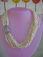 14kyg Lavender Jade Multi Strand Freshwater Pearl Necklace 16""