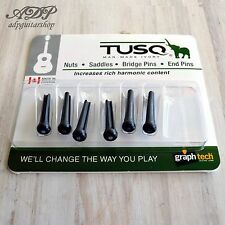 6 CHEVILLES TUSQ PP-2182 BLACK ABALONE DOT GRAPHTECH Acoustic Guitar BRIDGE PINS