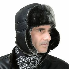 Men's Faux Leather Russian Ushanka Cossack Trapper Ski Bomber Aviator Pilot Hat