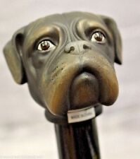 NEW Brown English Bulldog Head Handle Design Wood Cane Walking Stick 37'' Tall