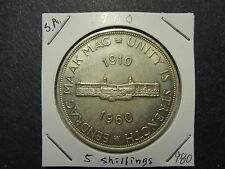 "SOUTH AFRICA 1960 SILVER 5 SHILLINGS, ""PARLIAMENT,UNITY IS STRENGTH"" CHOICE UNC"