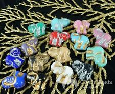 Mix Multicolor Gold Silver Czech Glass Large Elephant Beads Animal 16mm x 22mm 2