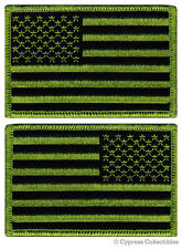 LOT of 2 AMERICAN FLAG EMBROIDERED PATCH iron-on USA GREEN SUBDUED UNITED STATES
