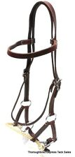 "D.A. Brand Dark Oil Leather Browband Side Pull with 5"" Snaffle Bit Horse Tack"