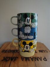 Stacking Disney Mugs Japan Mickey Mouse Blue Green Yellow Coffee Cups Kitchen