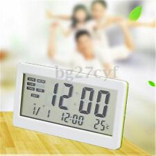 LCD Digital Alarm Clock Temperature Meter Thermometer Calendar Stand Desk Table