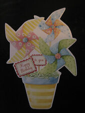 Carol Wilson Birthday Card For Her Glitter Pin Wheels in Pot Embossed