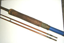 MONTAGUE 4 pc ANTIQUE 1930s FLY FISHING BAMBOO POLE / ROD WITH 2 TIP ENDS