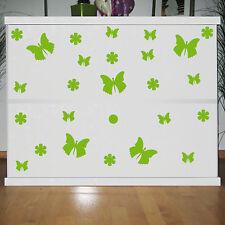 25 Aufkleber grün Schmetterlinge & Blumen Tattoo Spiegel Tür Fenster Möbel Auto