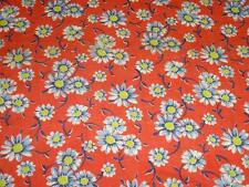 Vintage Cotton FEEDSACK FABRIC Quilt RED Blue Daisies Floral Feed Sack