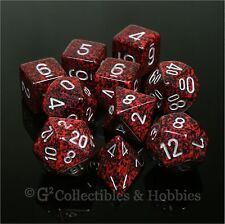 NEW 10 Silver Volcano Red Black Speckled Game Dice Set in Tube D&D RPG D20 D12 +