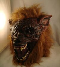 BROWN WEREWOLF LATEX MASK HALLOWEEN FANCY DRESS SCARY WOLF WAREWOLF DOG SCARY