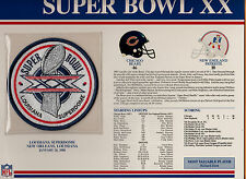 1986 SUPER BOWL XX SB 20 PATCH CHICAGO BEARS NEW ENGLAND PATRIOTS WILLABEE WARD